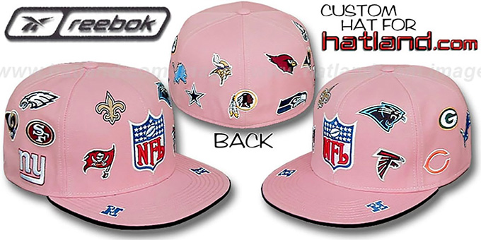 NFL 'NFC ALL-OVER' Pink Fitted Hat by Reebok : pictured without stickers that these products are shipped with