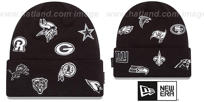 NFL 'NFC TOTAL LOGO' Black Knit Beanie Hat by New Era : pictured without stickers that these products are shipped with