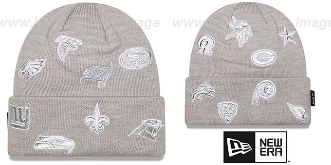 NFL 'NFC TOTAL LOGO' Grey Knit Beanie Hat by New Era : pictured without stickers that these products are shipped with