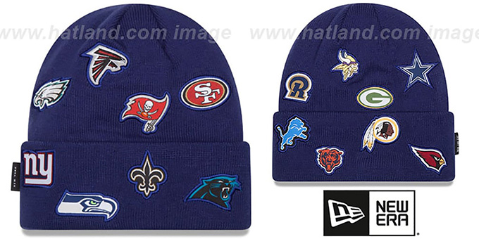 NFL 'NFC TOTAL LOGO' Royal Knit Beanie Hat by New Era : pictured without stickers that these products are shipped with