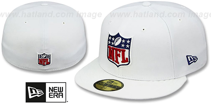 NFL 'SHIELD-LOGO' White Fitted Hat by New Era