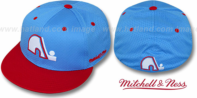 Nordiques '2T BP-MESH' Sky-Red Fitted Hat by Mitchell & Ness : pictured without stickers that these products are shipped with