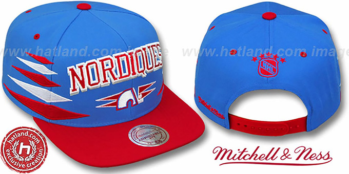 Nordiques '2T DIAMONDS SNAPBACK' Royal-Red Adjustable Hat by Mitchell & Ness : pictured without stickers that these products are shipped with