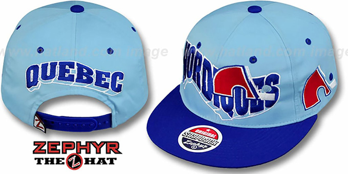 Nordiques '2T FLASHBACK SNAPBACK' Sky-Royal Hat by Zephyr : pictured without stickers that these products are shipped with