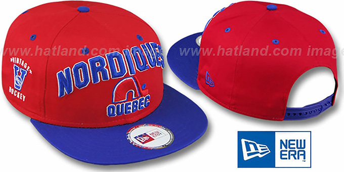 Nordiques '2T PAYDIRT SNAPBACK' Red-Royal Adjustable Hat by New Era : pictured without stickers that these products are shipped with