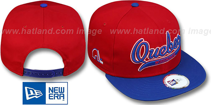 Nordiques '2T SCRIPTER SNAPBACK' Red-Royal Hat by New Era : pictured without stickers that these products are shipped with