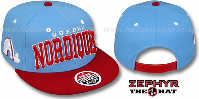 6943f3a5344 Quebec Nordiques 2T SUPER-ARCH SNAPBACK Sky-Red Hat by Zephyr