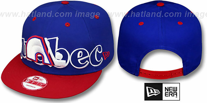 Nordiques 'BIG CITY PUNCH SNAPBACK' Royal-Red Hat by New Era : pictured without stickers that these products are shipped with