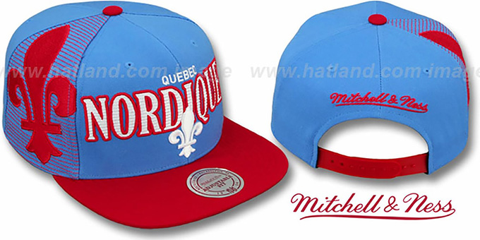 Nordiques 'LASER-STITCH SNAPBACK' Sky-Red Hat by Mitchell & Ness : pictured without stickers that these products are shipped with