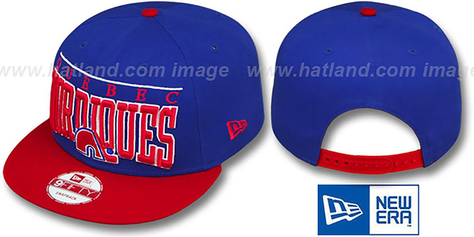 Nordiques 'LE-ARCH SNAPBACK' Royal-Red Hat by New Era : pictured without stickers that these products are shipped with