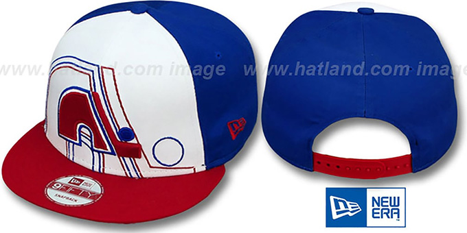Nordiques 'LITTLE-BIG POP SNAPBACK' White-Royal-Red Hat by New Era : pictured without stickers that these products are shipped with