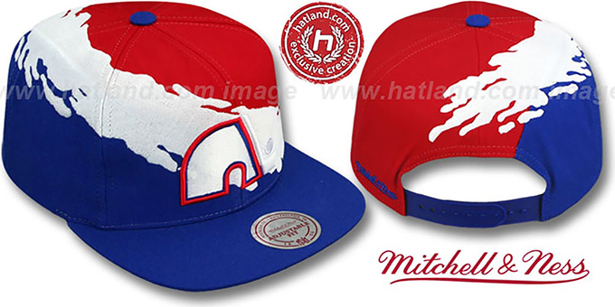 Nordiques 'PAINTBRUSH SNAPBACK' Red-White-Royal Hat by Mitchell & Ness : pictured without stickers that these products are shipped with