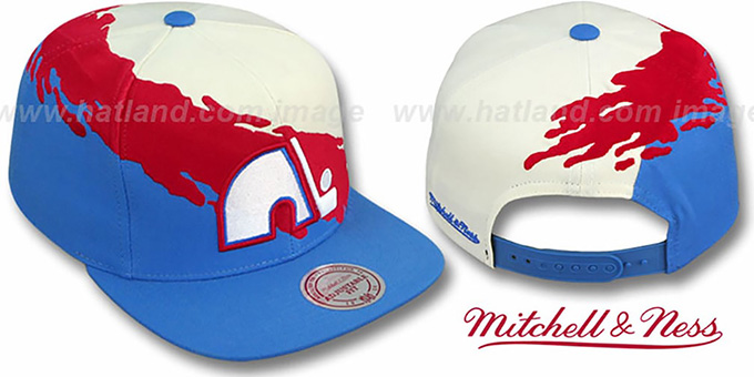 Nordiques 'PAINTBRUSH SNAPBACK' White-Red-Sky Hat by Mitchell & Ness : pictured without stickers that these products are shipped with