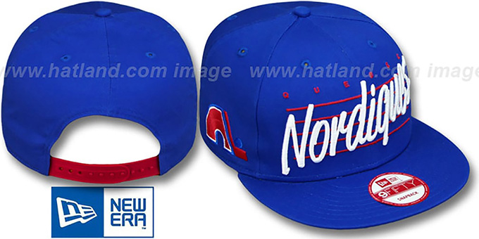 Nordiques 'SCRIPTLINER SNAPBACK' Royal Adjustable Hat by New Era : pictured without stickers that these products are shipped with
