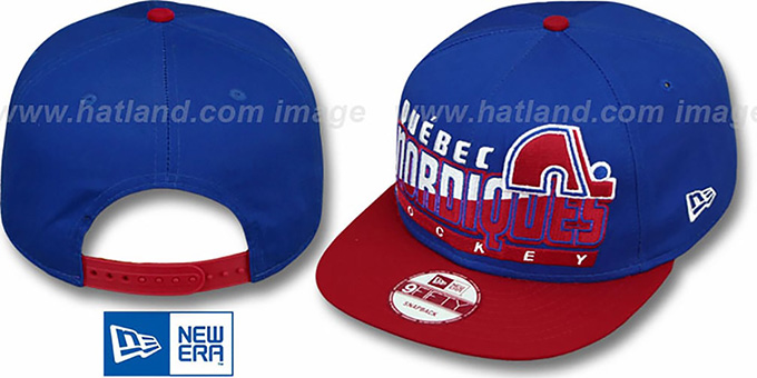 Nordiques 'SLICE-N-DICE SNAPBACK' Royal-Red Hat by New Era : pictured without stickers that these products are shipped with