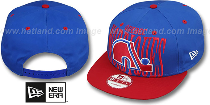Nordiques 'STEP-ABOVE SNAPBACK' Blue-Red Hat by New Era : pictured without stickers that these products are shipped with