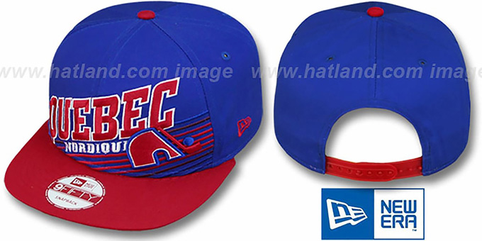 Nordiques 'STILL ANGLIN SNAPBACK' Royal-Red Hat by New Era : pictured without stickers that these products are shipped with