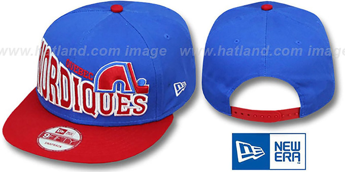 Nordiques 'STOKED SNAPBACK' Blue-Red Hat by New Era : pictured without stickers that these products are shipped with