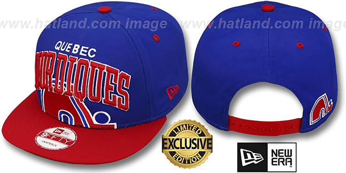 Nordiques 'SUPER-LOGO ARCH SNAPBACK' Royal-Red Hat by New Era : pictured without stickers that these products are shipped with