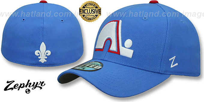Nordiques 'VINTAGE SHOOTOUT' Sky Fitted Hat by Zephyr