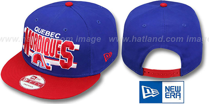 Nordiques 'WORDSTRIPE SNAPBACK' Royal-Red Hat by New Era : pictured without stickers that these products are shipped with