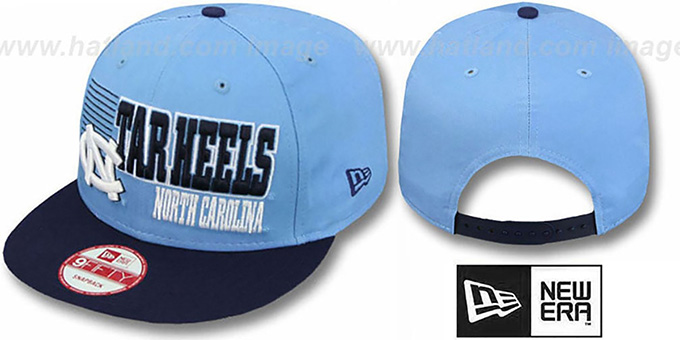 North Carolina '2T BORDERLINE SNAPBACK' Sky-Navy Hat by New Era : pictured without stickers that these products are shipped with