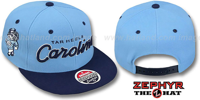 North Carolina '2T HEADLINER SNAPBACK' Sky-Navy Hat by Zephyr : pictured without stickers that these products are shipped with