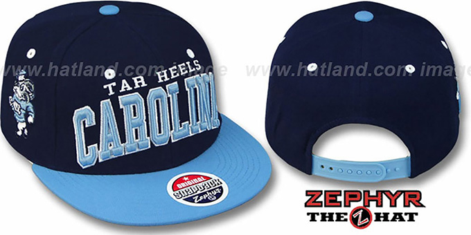 North Carolina '2T SUPER-ARCH SNAPBACK' Navy-Sky Hat by Zephyr : pictured without stickers that these products are shipped with