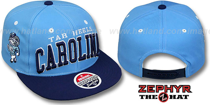 North Carolina '2T SUPER-ARCH SNAPBACK' Sky-Navy Hat by Zephyr : pictured without stickers that these products are shipped with