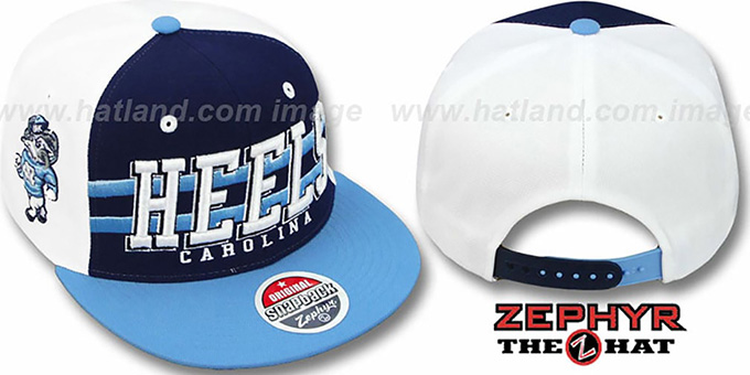 North Carolina '2T SUPERSONIC SNAPBACK' Navy-Sky Hat by Zephyr : pictured without stickers that these products are shipped with