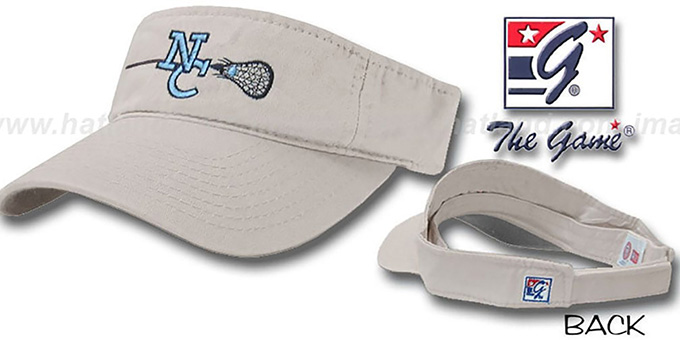 North Carolina 'LACROSSE' Visor by the Game - stone : pictured without stickers that these products are shipped with