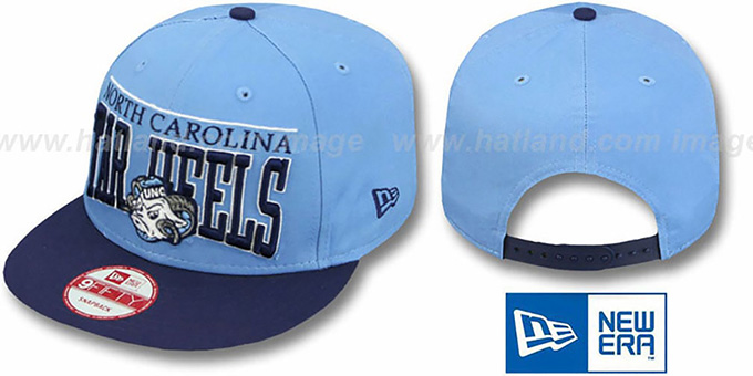 North Carolina 'LE-ARCH SNAPBACK' Sky-Navy Hat by New Era : pictured without stickers that these products are shipped with