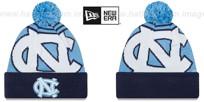 North Carolina 'LOGO WHIZ' Sky-Navy Knit Beanie Hat by New Era : pictured without stickers that these products are shipped with