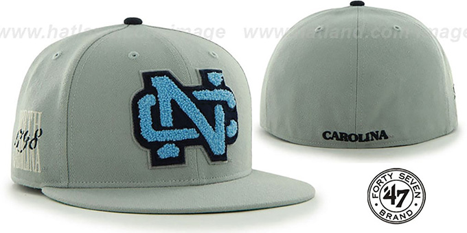 North Carolina 'NCAA CATERPILLAR' Grey Fitted Hat by 47 Brand : pictured without stickers that these products are shipped with