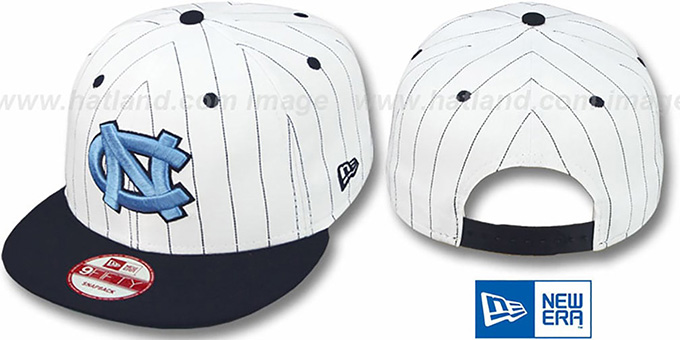 North Carolina 'PINSTRIPE BITD SNAPBACK' White-Navy Hat by New Era : pictured without stickers that these products are shipped with