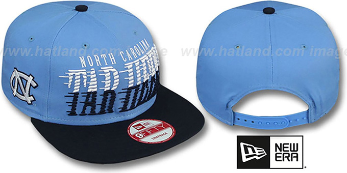North Carolina 'SAILTIP SNAPBACK' Sky-Navy Hat by New Era : pictured without stickers that these products are shipped with