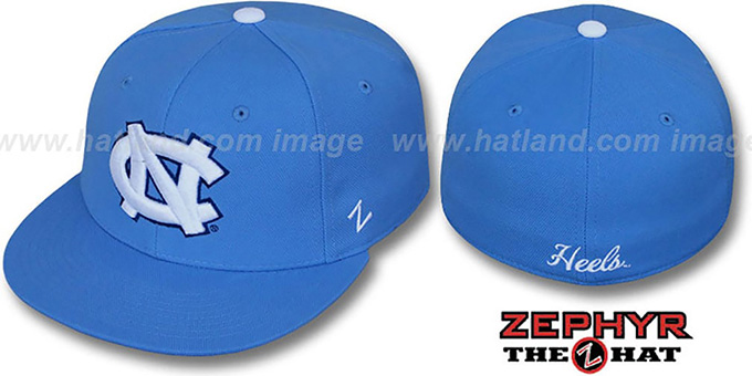 North Carolina 'SLIDER' Light Blue Fitted Hat by Zephyr : pictured without stickers that these products are shipped with