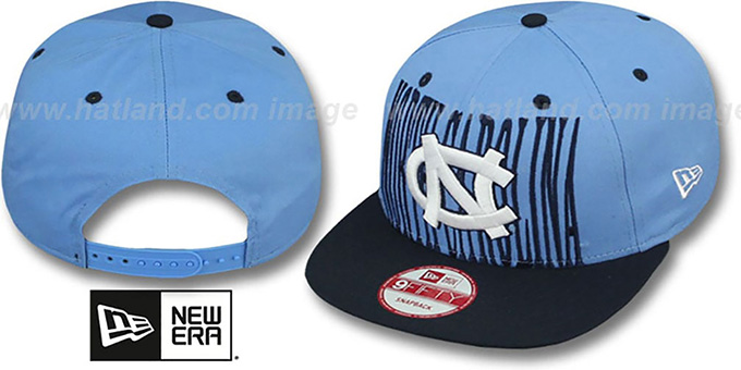 North Carolina 'STEP-ABOVE SNAPBACK' Sky-Navy Hat by New Era : pictured without stickers that these products are shipped with