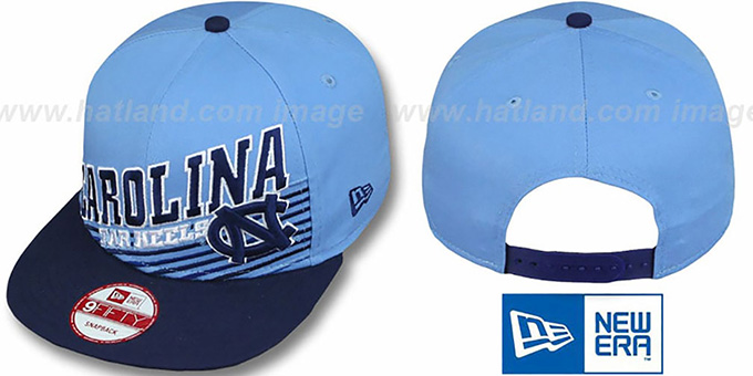 North Carolina 'STILL ANGLIN SNAPBACK' Sky-Navy Hat by New Era : pictured without stickers that these products are shipped with