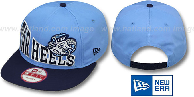 North Carolina 'STOKED SNAPBACK' Sky-Navy Hat by New Era : pictured without stickers that these products are shipped with