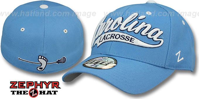 North Carolina 'SWOOP LACROSSE' Sky Fitted Hat by Zephyr : pictured without stickers that these products are shipped with