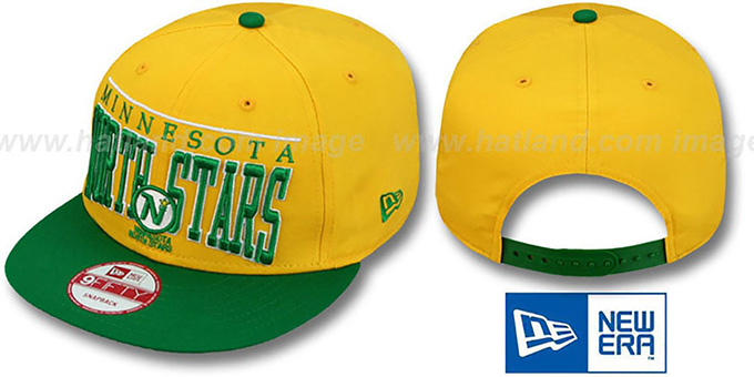 North Stars 'LE-ARCH SNAPBACK' Gold-Green Hat by New Era : pictured without stickers that these products are shipped with