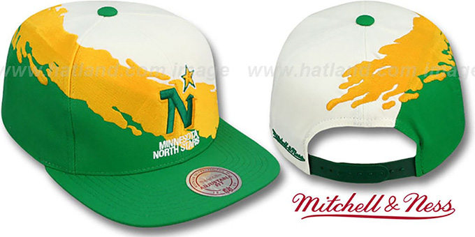 North Stars 'PAINTBRUSH SNAPBACK' White-Gold-Green Hat by Mitchell & Ness : pictured without stickers that these products are shipped with