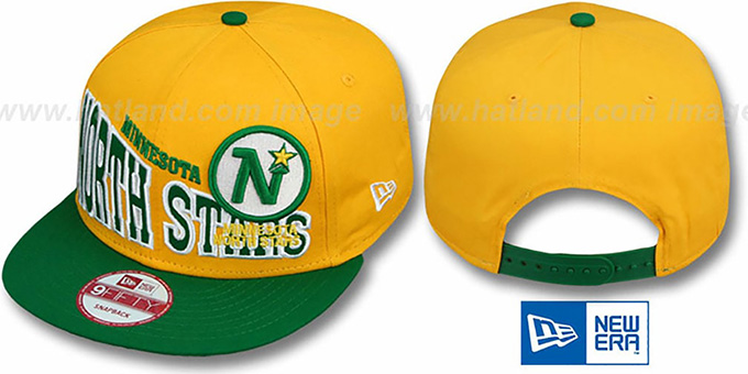 North Stars 'STOKED SNAPBACK' Gold-Green Hat by New Era : pictured without stickers that these products are shipped with