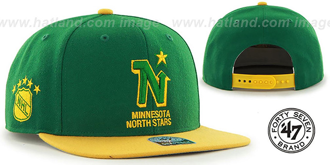 North Stars 'SURE-SHOT SNAPBACK' Green-Gold Hat by Twins 47 Brand : pictured without stickers that these products are shipped with