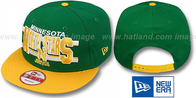 North Stars 'WORDSTRIPE SNAPBACK' Green-Gold Hat by New Era : pictured without stickers that these products are shipped with