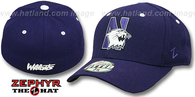 Northwestern 'DH' Purple Fitted Hat by Zephyr : pictured without stickers that these products are shipped with