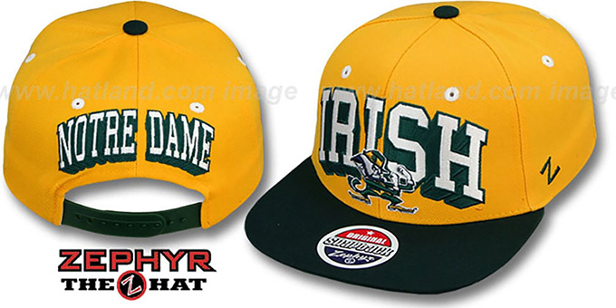 Notre Dame '2T BLOCKBUSTER SNAPBACK' Gold-Green Hat by Zephyr : pictured without stickers that these products are shipped with
