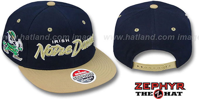 Notre Dame '2T HEADLINER SNAPBACK' Navy-Gold Hat by Zephyr : pictured without stickers that these products are shipped with