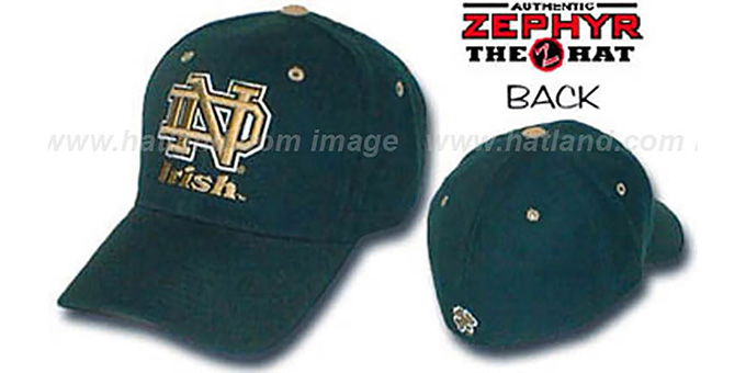Notre Dame 'DH' Fitted Hat by ZEPHYR - green : pictured without stickers that these products are shipped with